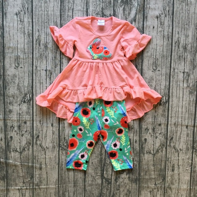 fbcb75229308 girls boutique spring clothing girls easter bunny outfits girls coral dress  top with floral capri pants sets bunny clothes