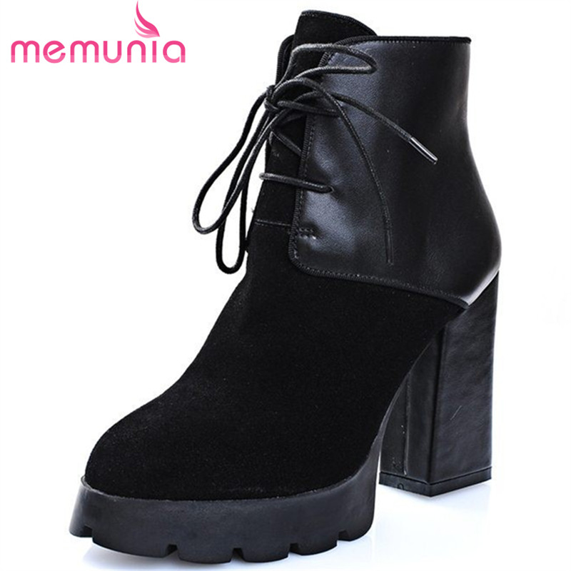 ФОТО new arrive 2017 fashion ankle boots genuine leather thick high heels women boots lace up round toe black platform