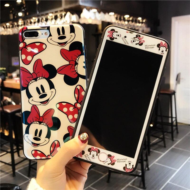 Pour iPhone 8 8 plus Case Cartoon + Trempé Écran En Verre film, Minnie mickcy cas pour iPhone 6 S 6 SPlus 7 7 plus Fudas + verre flim