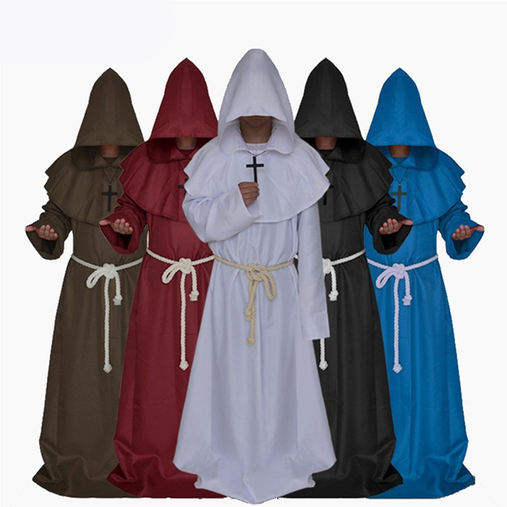 Original Mens Church Medieval Renaissance Priest High Priest Monk Druid 5 Color Cosplay Costume Halloween Robe Cloak