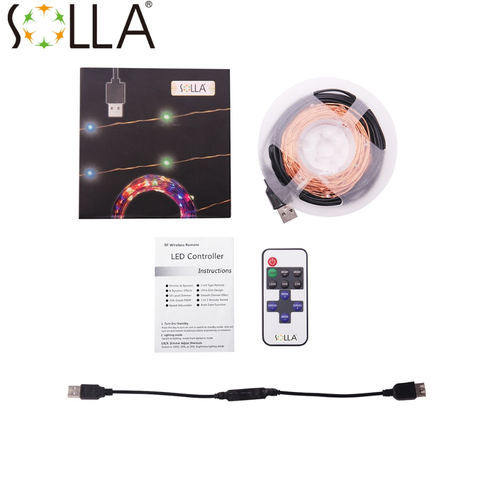 5v 10m 33ft 100 led usb christmas lights copper wire fairy string light luces dimmable flash remote controller halloween in led string from lights