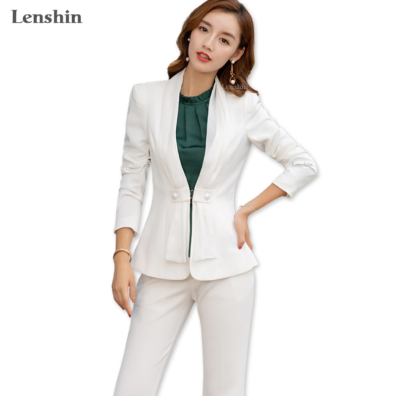 Lenshin 2 Pieces Set Street Wear Women Suit With Scarf Office Lady Fashion Style V-Neck Jacket And Bell-bottom Trousers
