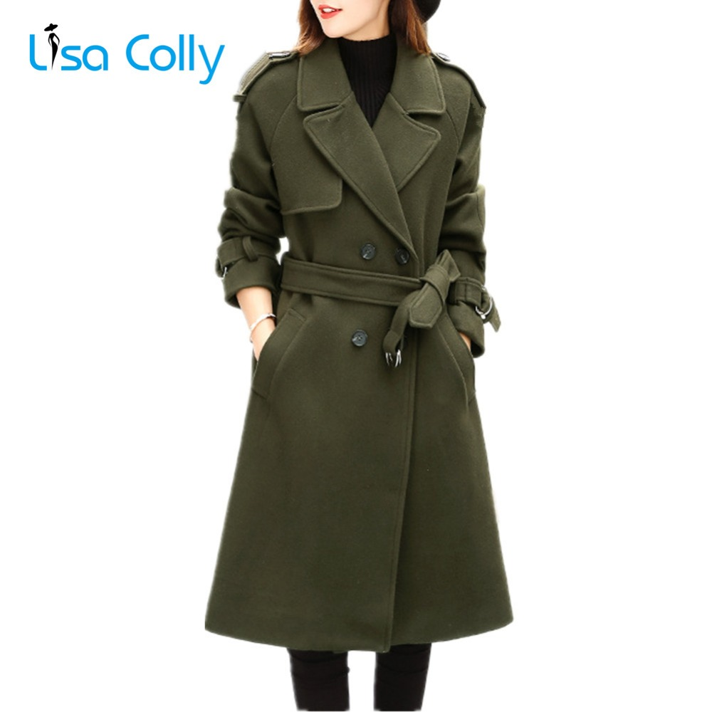Lisa Colly New Fashion Women Woolen Coat Slim Double Breasted Overcoat Winter Coat Jacket Long Outerwear