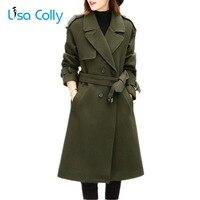 Lisa Colly New Fashion Women Woolen Coat Slim Double Breasted Overcoat Winter Coat Jacket Long Outerwear Women Warm Wool Coat
