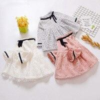 Spring Cute Girl Cotton Lace Dress Fashion Girl Long Sleeve Ribbon Design Dress 2018 Children Clothing