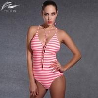 2016 New Summer Beachwear Swimsuit Print Stripe Vintage One Piece Swimsuit Women Bathing Suits Plus Size