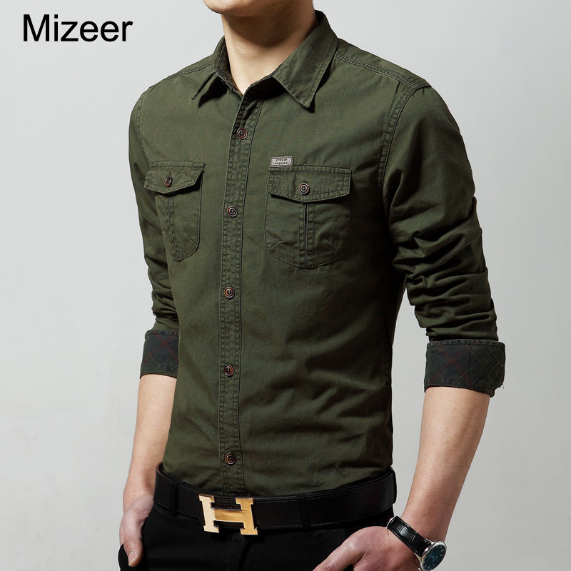 2017 new fashion cotton casual men long sleeve army green for Mens long sleeve casual cotton shirts