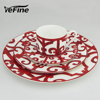 Bone China Dinnerware Set Porcelain European Tableware Dish And Plate Red Luxury Coffee Cups Saucers