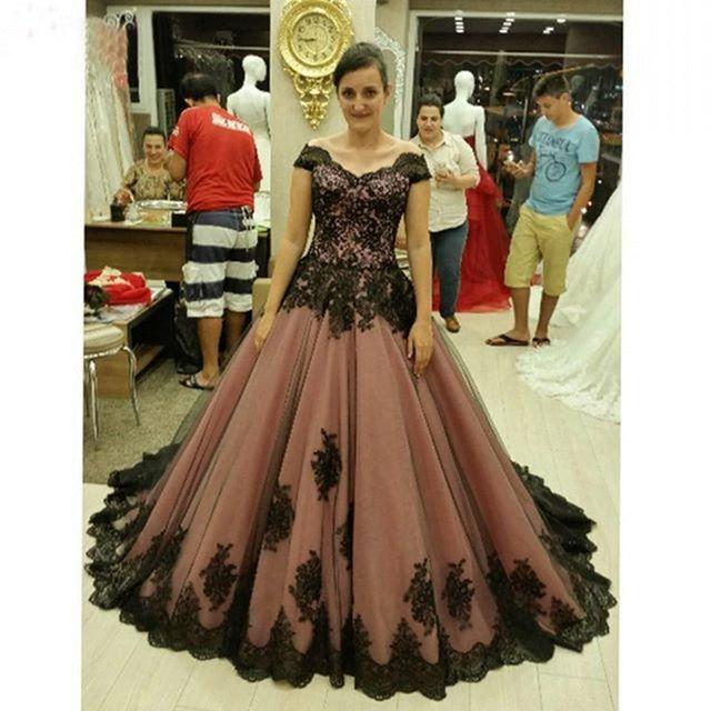 7fcf6667bad Long Plus Size Prom dresses 2017 Appliqued with Black Lace A Line  Graduation Chiffon Evening Gown