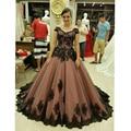 Longa Plus Size Prom dresses 2017 Appliqued com Laço Preto Uma Linha de Chiffon do baile de Formatura Vestido de Noite abendkleider neue kristall