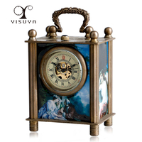 New Exquisite European Style Antique Painted Chinese Ancient Copper Hand Carved Mechanical Clock Timer Desk Clocks