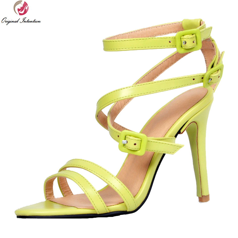 ФОТО Original Intention Fashoin Women Sandals Narrow Band Peep Toe Thin Heels Sandals Gorgeous Green Shoes Woman Plus US Size 4-15