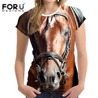 FORUDESIGNS 3D Crazy Horse Women T Shirt For Girls Summer Female Shirt Short Sleeved Ladies Casual