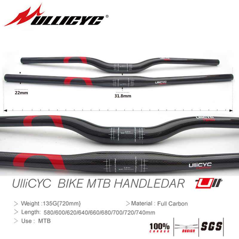 CARBON fiber 31.8 mm mountain bike flat rise handlebar 600 620 640 680 700 720mm