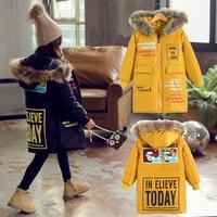 winter jacket for girls Korean 4 13 years old girls down coats girl winter fur collar children's parkas hot CARTOON print