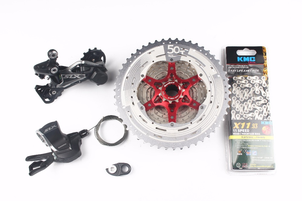 <font><b>Shimano</b></font> <font><b>SLX</b></font> <font><b>M7000</b></font> 4pcs Bike Bicycle MTB 11 Speed Kit <font><b>Groupset</b></font> Shifter+ SunRace cassette 11-46T 11-50T+ Adapter+ KMC chain image