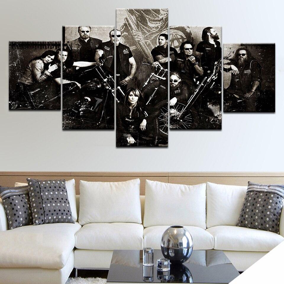 5 Panel HD Impreso Hijos de la Anarquía Serie de TV carteles de - Decoración del hogar - foto 4