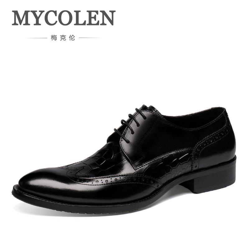 MYCOLEN Genuine Leather Men Formal Shoes Luxury Dress Business Shoes Pointed Toe Spring Men Derby Shoes Men Soulier Homme mycolen men formal shoes luxury business dress shoes full leather pointed toe loafers men wedding leather shoe black moccasins