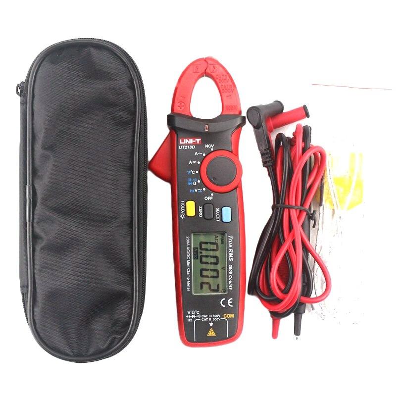 UNI-T UT210D Multimetro Pinza Digitale Tester 200A Auto Range AC/DC Voltmetro Amperometro Resistenza Capacità C/F Termometro