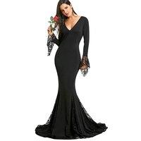CharMma 2017 Sexy Deep V Neck Lace Insert Mermaid Fromal Dress Women Elegant Black Long Sleeves
