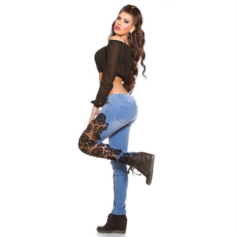 En Desgaste Mujeres S2825 Caliente Fit Flaco Club Atractivo Popular Pantalones Y Lápiz blanco América Jeans Negro Estilo Slim Lace Europa ra4Tatx