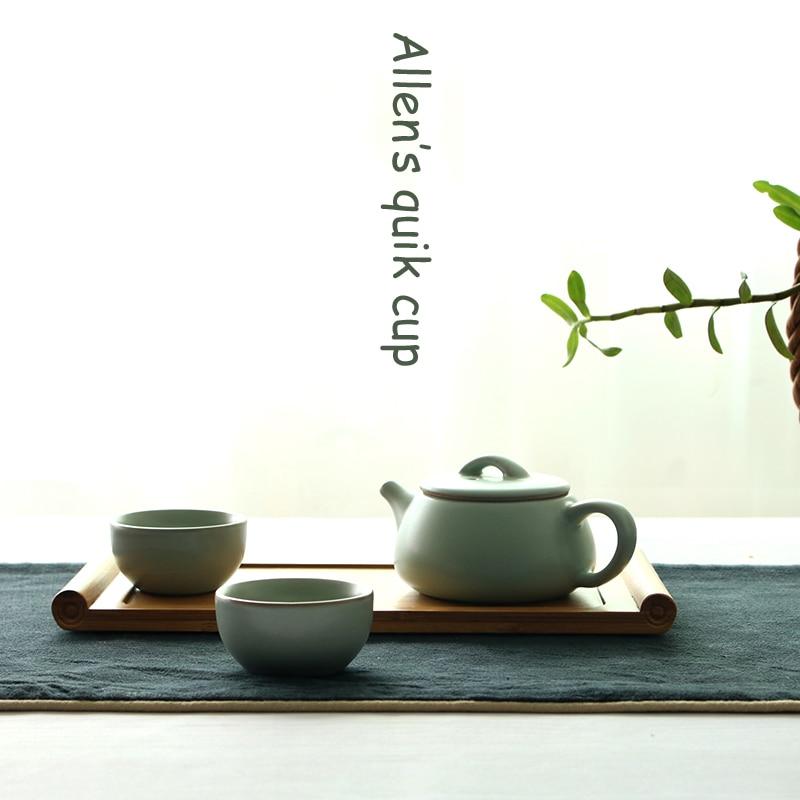 Ru yao Kettle Smoothness Ru Kilns porcelain Tea sets Celadon Teapot Tea Cup Portable Travel Tea Set Teaset quik cup teacup Pot