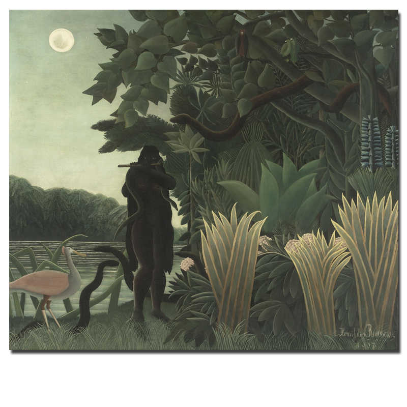 Henri Rousseau Landscape Oil Painting Orangutans and Snakes Under the Moon Canvas Prints Animal Picture Wall Art Home Decor
