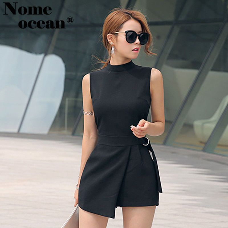 17b05cf9d Elegant Belted Waist Playsuits Women's Shorts Strand Collar Wrapped Shorts  of Girls Sexy Rompers Short Jumpsuits Black M18060506-in Rompers from  Women's ...