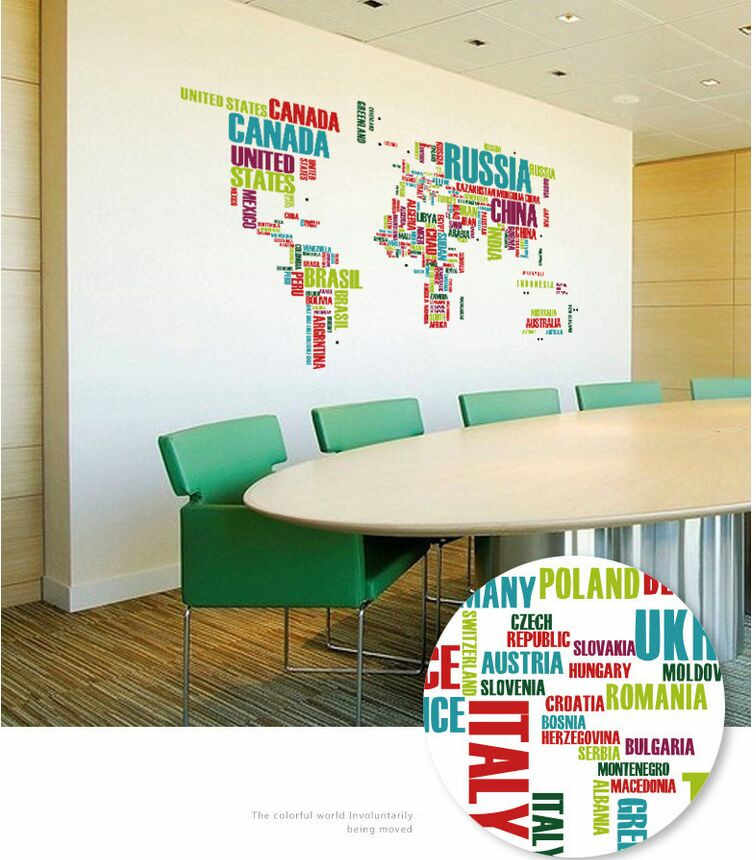 2pcs/set World Map Country Wall Sticker Home Office Decor Bedroom for Children Wall Poster DIY WallPaper Home Decoration