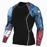 Muscle Men Compression Tight Skin Shirt Long Sleeves 3D Prints Rashguard Fitness Base Layer Weight Lifting