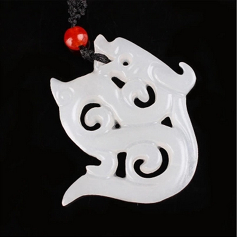 Natural Hollow Out Afghanistan White Jade Necklace The New classical Pendant