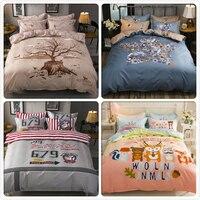 Plant Letter Cute Animal Print Cotton 3/4 pcs Bedding Set Kids Single Double Queen King Size Duvet Cover Bedsheet Set Bedclothes