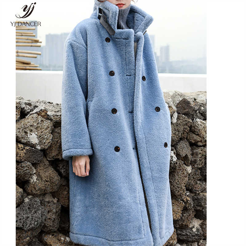 Lamb Plush Coat Female 2019 Autumn And Winter New Stand Collar Imitation Fur Fur One Over The Knee Coat Long Section H00475
