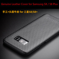 New Full Grain Leather Business Cover For Samsung Galaxy S8 Qialino Brand Genuine Natural Cow Skin