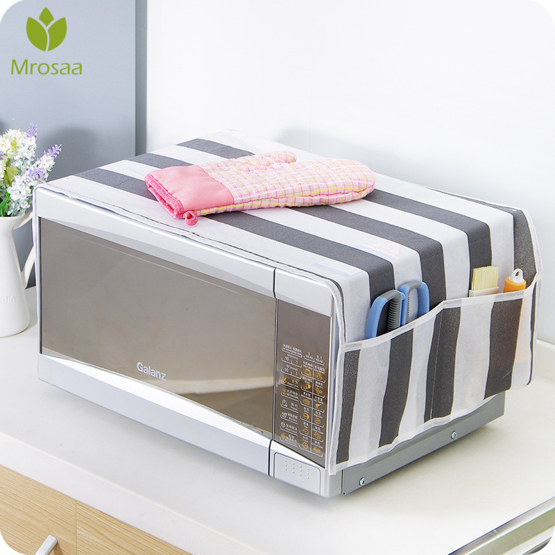 Newest 1pcs Simple Microwave Dust Cover Microwave Oven Hood Covers with Storage Bag Home Decoration Kitchen Accessories Supplies