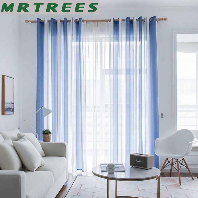 MRTREES פסים Sheer וילונות לסלון חדר השינה וילונות למטבח מודרני טול וילונות חלון וילונות