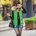 Womens Slim Down Cotton Jacket Sleeveless Fur Collar Hooded Vest Waistcoat Winter Warm Coat Plus Size