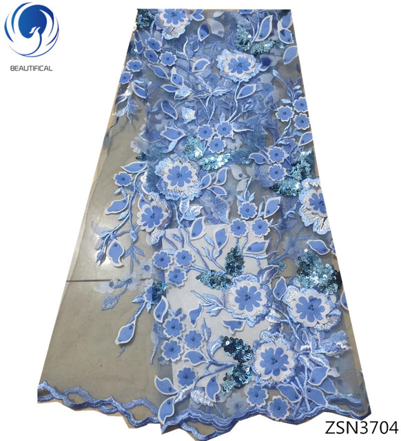 BEAUTIFICAL 3d lace fabric blue lace sequin embroidery fabric cheap price sequin lace dress 3d flower 5yards/lot products ZSN37