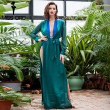 Sexy v-образным вырезом с длинными рукавами сплит платье FT2395