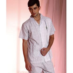Hombres ropa de dormir de primavera y el verano de ropa tejida de algodón 100% conjunto de salón