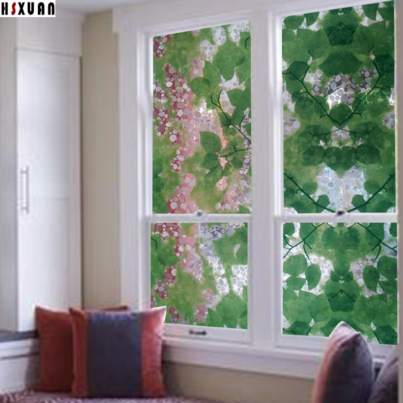 Explosion-Proof removable window films sunscreen50x100cm pvc pebbles bedroom glass static stained stickers Hsxuan brand 500615