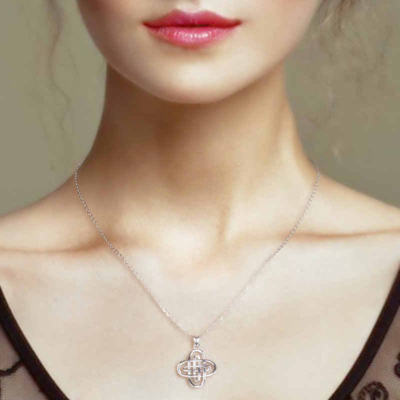 Melek Arayan Gerçek 925 Ayar Gümüş Kadın süleyman'ın Düğüm Kolye Kolye Yüksek Kalite Gerdanlık Kadınlar için Adam Erkek Kız hediyeler