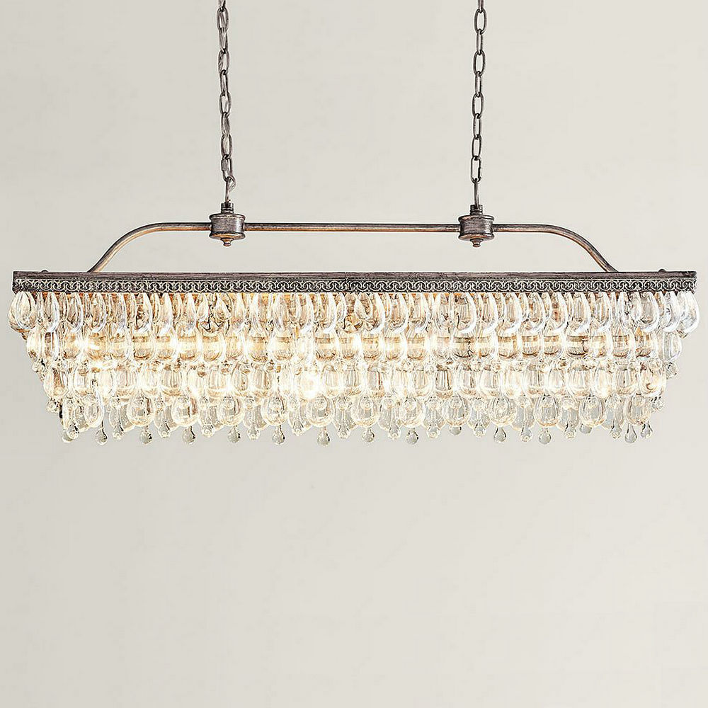 Luxury Led Light Crystal Chandelier Long Lighting Fixtures