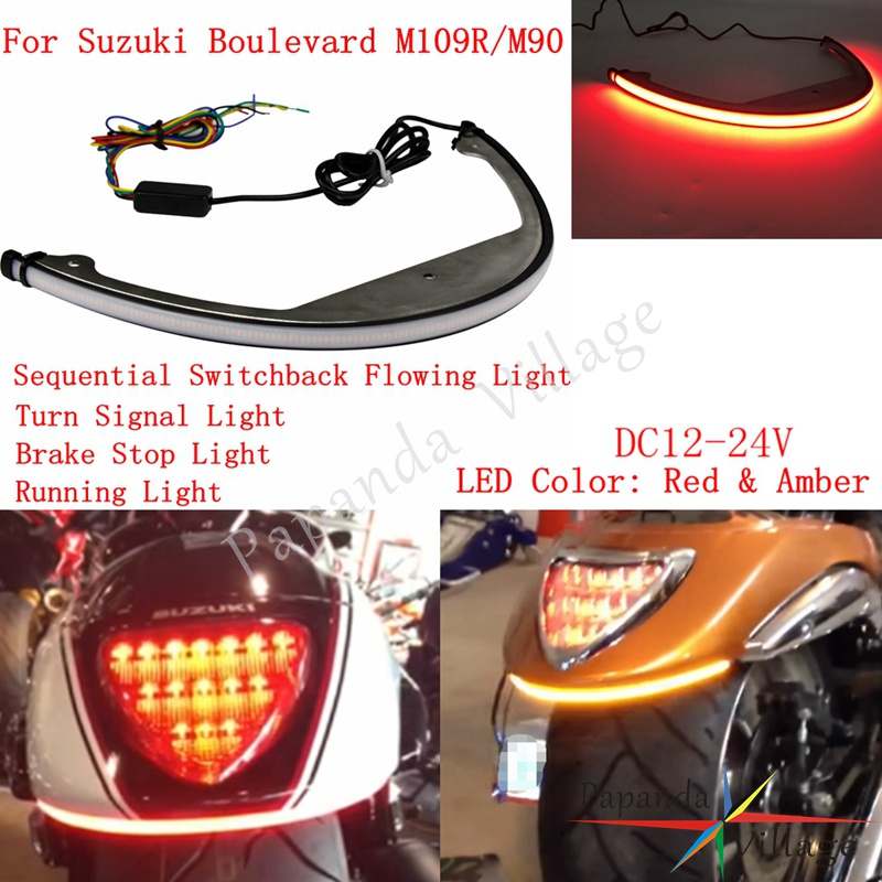 Motorcycle Red Amber LED Rear Sequential Switchback Rear Running Brake Turn Light for Suzuki Boulevard M109R M90 2006-2018Motorcycle Red Amber LED Rear Sequential Switchback Rear Running Brake Turn Light for Suzuki Boulevard M109R M90 2006-2018