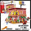 Ресторан mcdonald's Рождество Новый Игрушка строительные блоки SD6901 1729 Шт. LED Street View Серии дети подарок 4in1 sembo открыть 24 часов