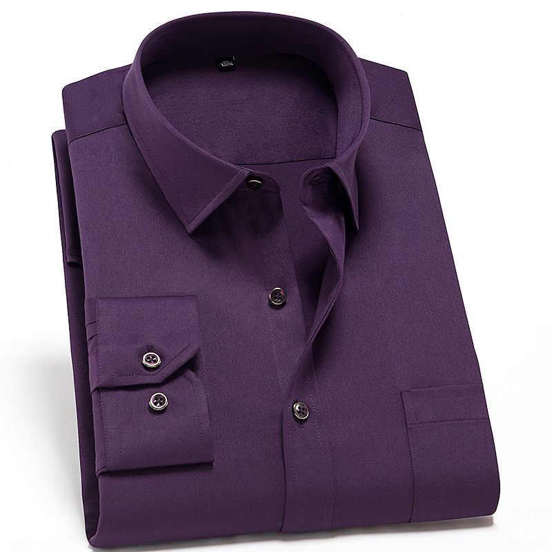 Эластичная ткань 2019 новые солидные/печатные формальные мужские рубашки с длинным рукавом не железные Умные повседневные мужские рубашки с нагрудным карманом