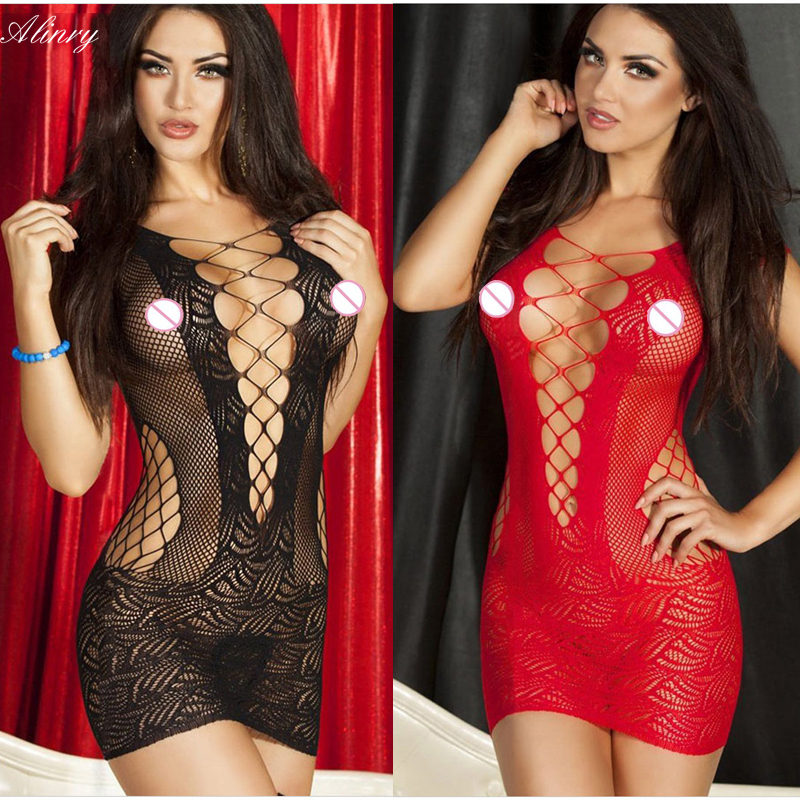 2017 Hot Sell Sexy Lingerie Hot Mesh Hollow Baby Doll Dress  Erotic Lingerie Black Red Women sexy costumes cotton sexy underwear