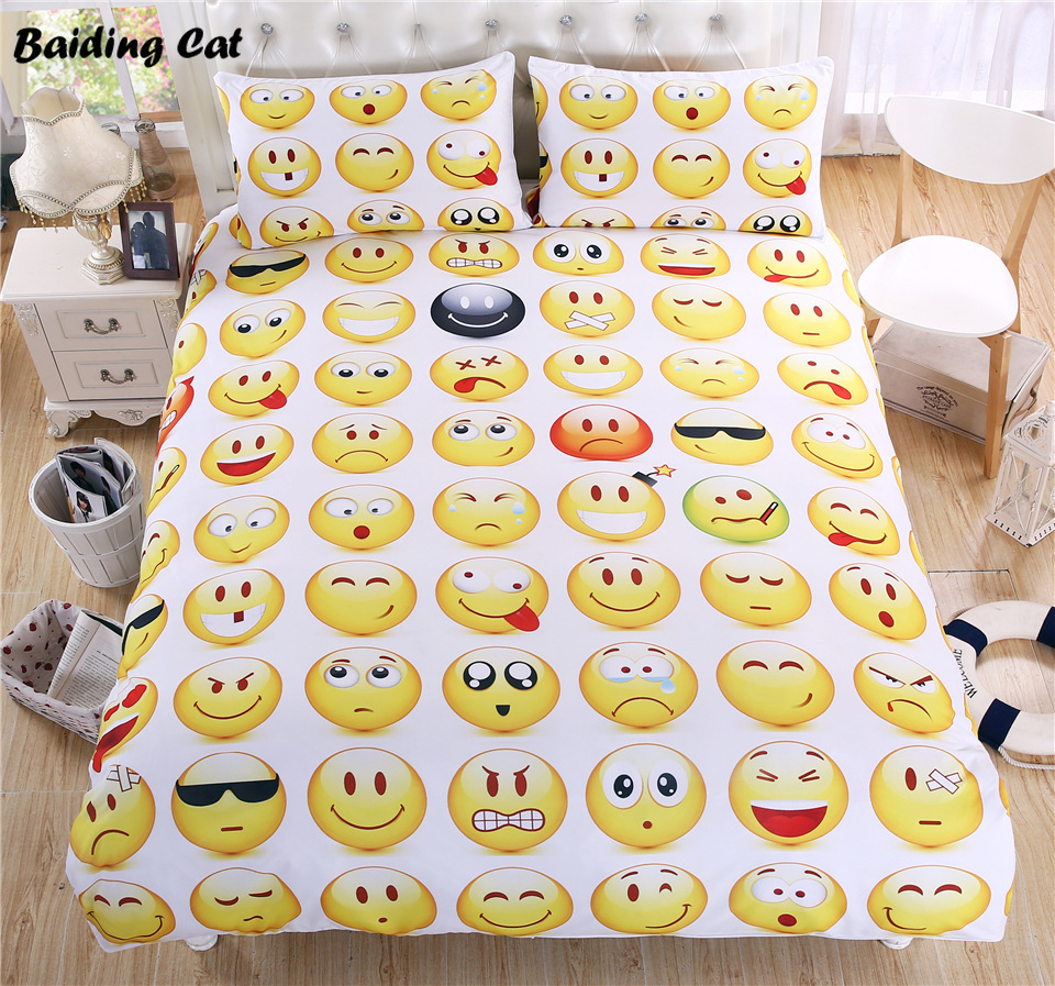 Hot Sale Funny Emoji Bedding Set Yellow QQ Face Emotion Bed Linen 3pcs Include Duvet Cover Pillowcase Twin Full Quee King SizeHot Sale Funny Emoji Bedding Set Yellow QQ Face Emotion Bed Linen 3pcs Include Duvet Cover Pillowcase Twin Full Quee King Size