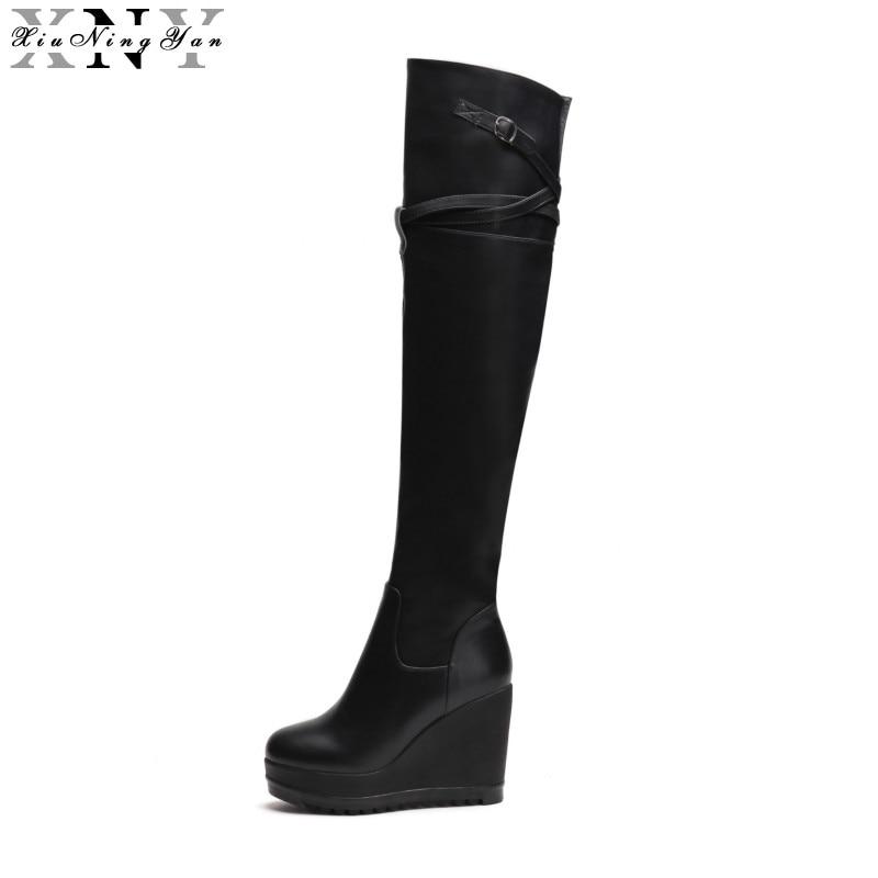 Sexy Stretch Waders Damen Xiuningyan Leder Schwarz Herbst Echtes Stiefel Wedges Weiche Frau Winter Schuhe Frauen jA4L35Rq