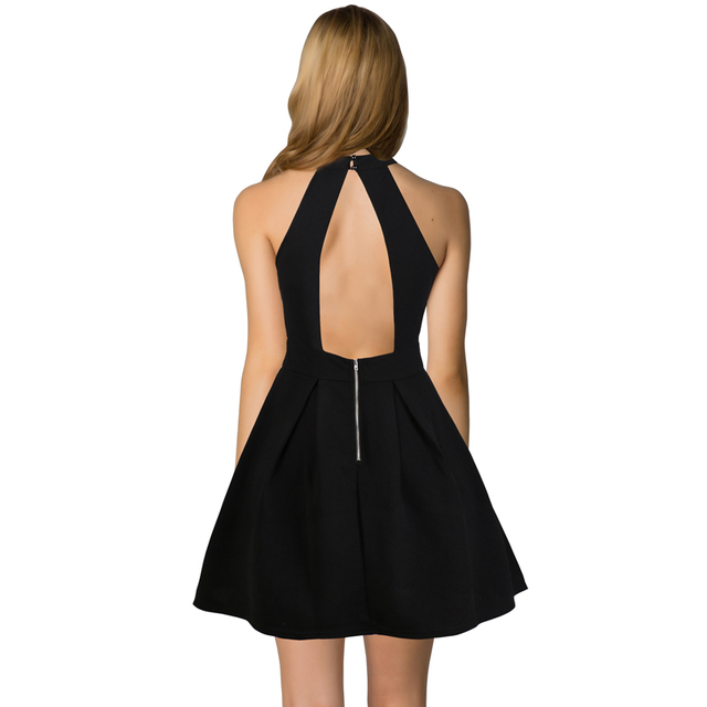 Sexyoo Womens Backless A-Line Black Dress